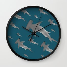 Hammerhead shark school Wall Clock