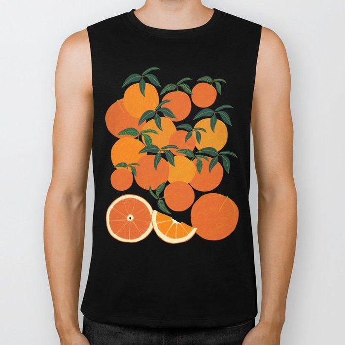 Orange Harvest - White Biker Tank