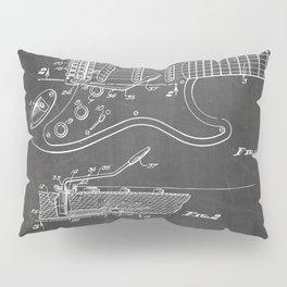 Guitar Tremelo Patent - Guitarist Art - Black Chalkboard Pillow Sham