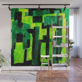 Three Green Puzzle Wall Mural