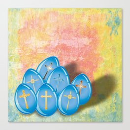 Blue eggs and crosses on pastel textured background Canvas Print
