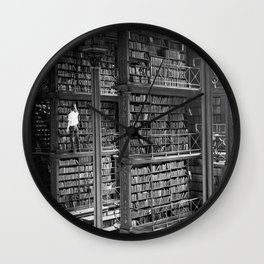 A book lovers dream - Cast-iron Book Alcoves Cincinnati Library black and white photography Wall Clock