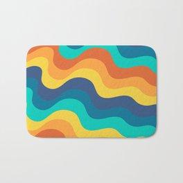 Retro Mid-Century Color Wave Ripples Stripes Bath Mat
