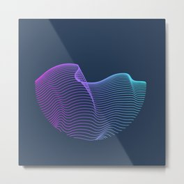 Abstract waves over navy Metal Print