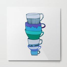 Blue Tea Cups Metal Print