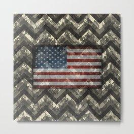 Beige White Digital Camo Chevrons with American Flag Metal Print