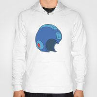 mega man Hoodies featuring Unmasked Mega Man by Rocom