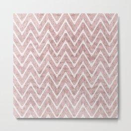 Palest Dusty Pink Zigzag Imitation Suede Chevron Metal Print
