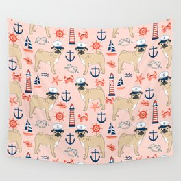 Pug nautical anchor sailing lighthouses dog breed pet portraits by pet friendly Wall Tapestry