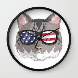 Patriotic American Bobtail Cat Kitty Merica American Flag Wall Clock