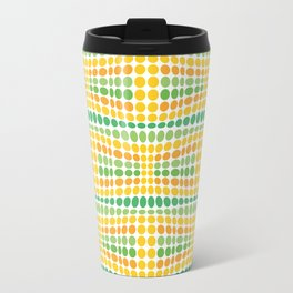 Dottywave - Green Yellow wave dots pattern Travel Mug