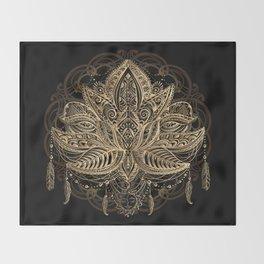Lotus Black & Gold Throw Blanket