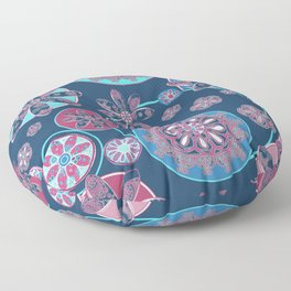 Circles of Flower Blue and Pink Floor Pillow