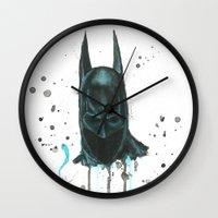 bat man Wall Clocks featuring Bat man by McCoy