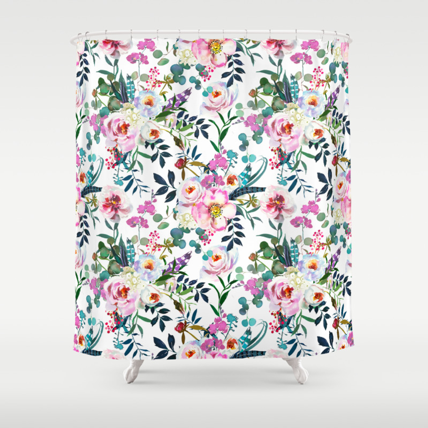 Pink Purple Green White Watercolor Bohemian Feathers Floral Shower Curtain By Pink Water Society6