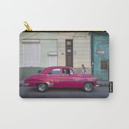 Vintage pink american car in the streets of La Havana, Cuba Carry-All Pouch