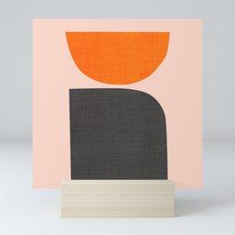 Orange and Black Mid-Century Design Mini Art Print
