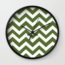 Dark olive green - green color - Zigzag Chevron Pattern Wall Clock