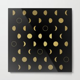 Gold Moon Phases Metal Print
