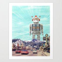 Robot in Town Art Print