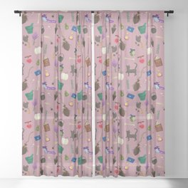 Copy of Assorted Witchery Repeating Pattern Pink Sheer Curtain