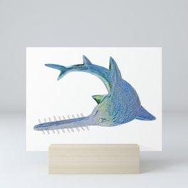 Largetooth Sawfish Draw Lines Body Fish Pristis School Mini Art Print