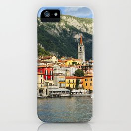 View of a Town on Lake Como, Varenna, Lombardy, Italy iPhone Case