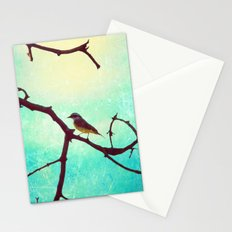 The Bird (Textured blue sky and little bird in a branch tree) Stationery Cards