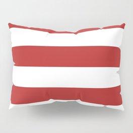 Horizontal Stripes - White and Firebrick Red Pillow Sham