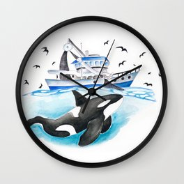 Orca And The Boat Wall Clock