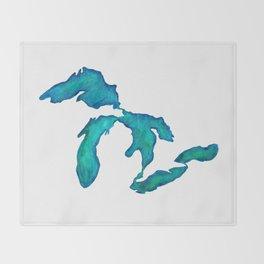 watercolor Great Lakes Throw Blanket