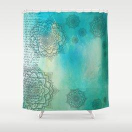 MANDALA COLLAGE ON Aqua Watercolor Shower Curtain