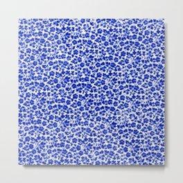 Sapphire Blue Vintage Flowers Metal Print