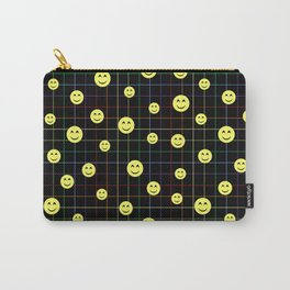 Colorful Smiley Emoji 4 - black Carry-All Pouch