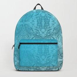 Blue Gradient Floral Doodle Pattern Backpack