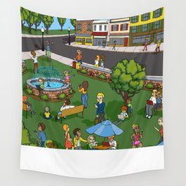 A Digital Day at the Fountain Wall Tapestry