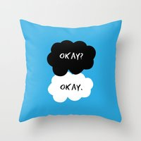 okay Throw Pillows featuring Okay by D-fens