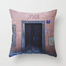 Pink House in Prague Throw Pillow