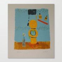 bathroom Canvas Prints featuring Bathroom by Jenny Baird