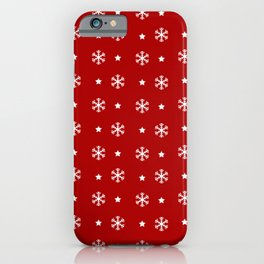Red background with white snowflakes and stars pattern iPhone Case