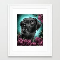 lab Framed Art Prints featuring Black Lab... by Lily Fitch