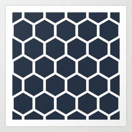 Dark blueHoneycomb pattern Art Print