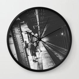 New York Subway, Black and White Wall Clock