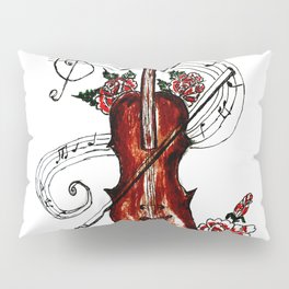 Brown Violin with Notes Pillow Sham