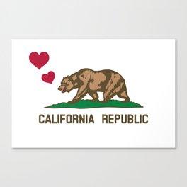 California Republic Bear with Hearts Canvas Print
