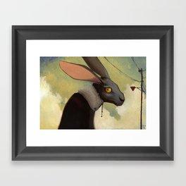 Melancholic rabbit Framed Art Print