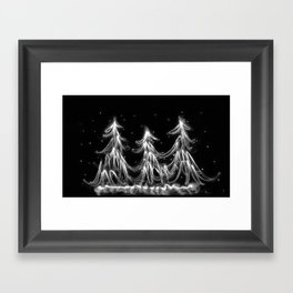 White Christmas Snow and Christmas Tree light painting Framed Art Print