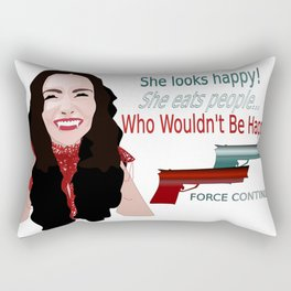 She Eats People Happy Print Rectangular Pillow