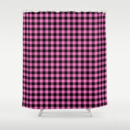 Classic Pink Country Cottage Summer Buffalo Plaid Shower Curtain
