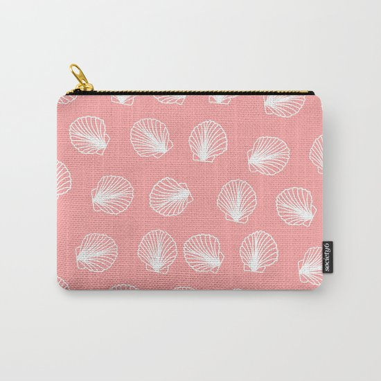 Modern mermaid white seashells hand drawn pattern on pink Carry-All Pouch